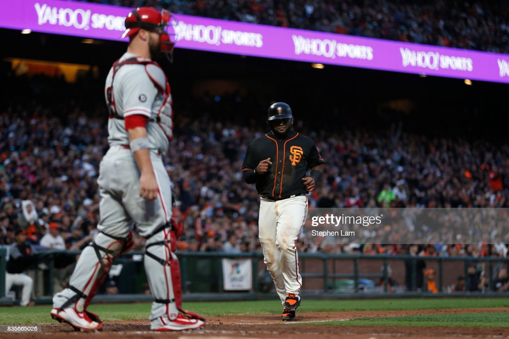Pablo Sandoval (48) runs home to score during the fourth inning against the Philadelphia Phillies at AT&T Park on August 19, 2017 in San Francisco, California.
