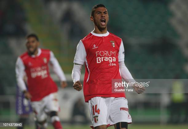 Pablo Santos of SC Braga celebrates after scoring a goal during the Portuguese Cup match between Vitoria FC and SC Braga at Estadio do Bonfim on...