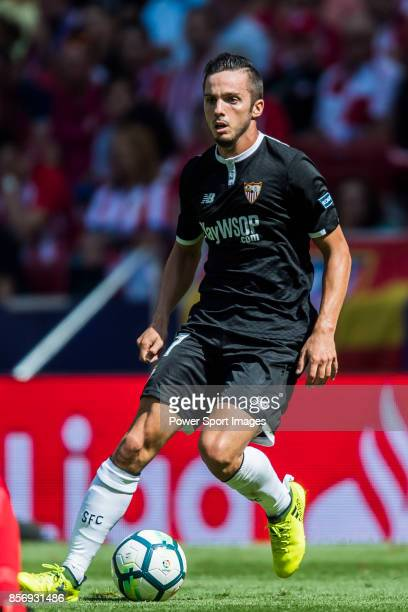 Pablo Sarabia Garcia of Sevilla FC in action during the La Liga 201718 match between Atletico de Madrid and Sevilla FC at the Wanda Metropolitano on...