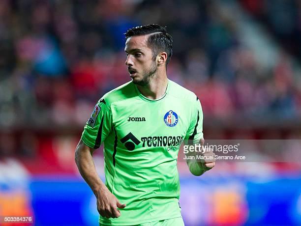 Pablo Sarabia of Getafe CF reacts during the La Liga match between Real Sporting de Gijon and Getafe CF at Estadio El Molinon on January 4 2016 in...