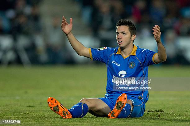Pablo Sarabia of Getafe CF reacts on after a foul during the La Liga match between Getafe CF and FC Barcelona at Coliseum Alfonso Perez on December...
