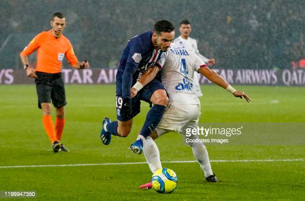 Pablo Sarabia of Paris Saint Germain, Rafael Pereira da Silva of Olympic Lyon during the French League 1 match between Paris Saint Germain v...