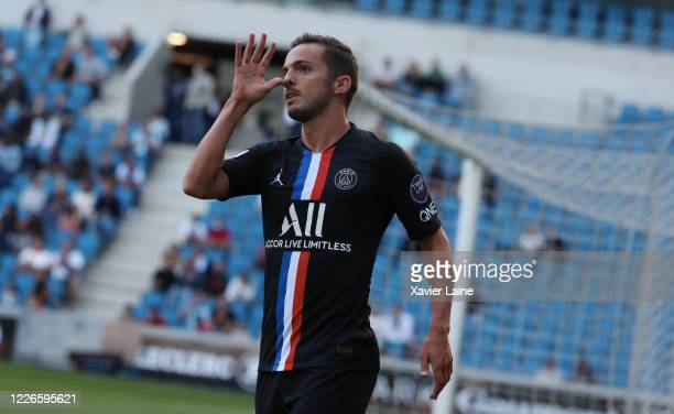 Pablo Sarabia of Paris SaintGermain celebrate his goal during the friendly match between HAC Le Havre and Paris Saint Germain at Stade Oceane on July...