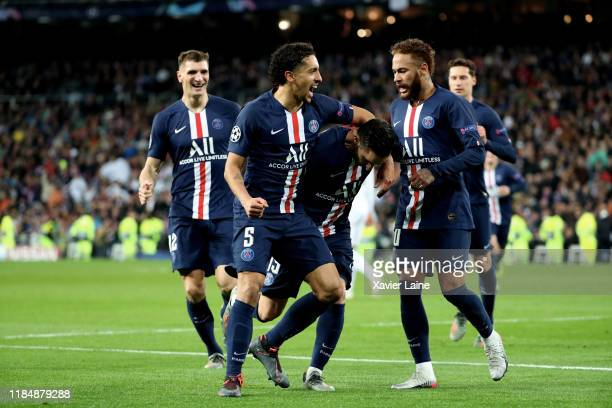 Pablo Sarabia of Paris SaintGermain celebrate his goal of equalization with Marquinhos and Neymar Jr during the UEFA Champions League group A match...