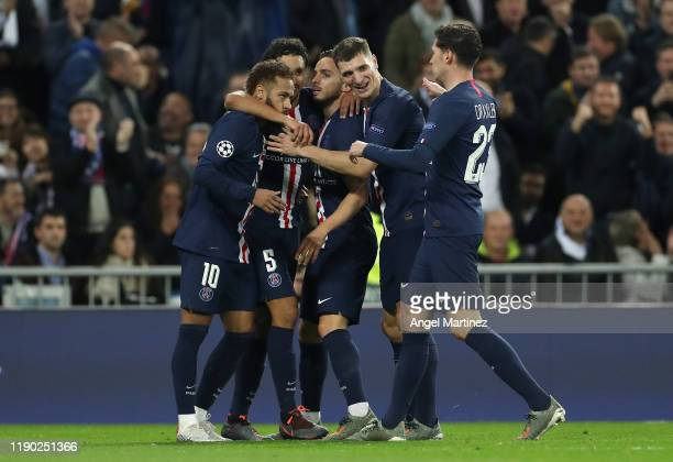 Pablo Sarabia of Paris SaintGermain celebrates with teammates after scoring his team's second goal during the UEFA Champions League group A match...