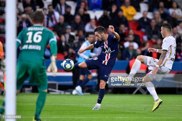 Pablo Sarabia of Paris SaintGermain shoots on goal during the Ligue 1 match between Paris SaintGermain and Angers SCO at Parc des Princes on October...