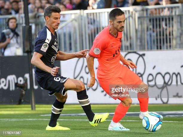 Pablo Sarabia of PSG, Laurent Koscielny of Bordeaux during the Ligue 1 match between FC Girondins de Bordeaux and Paris Saint-Germain at Stade Matmut...