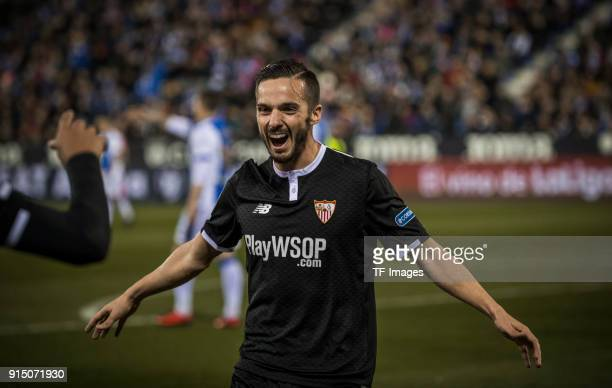 Pablo Sarabia of Sevilla celebrates after Luis Muriel of Sevilla scored his team`s first goal during the Copa del Rey semifinal first leg match...