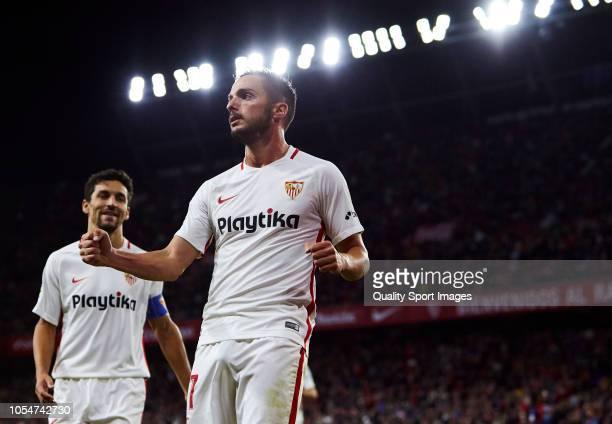 Pablo Sarabia of Sevilla celebrates scoring his team's second goal during the La Liga match between Sevilla FC and SD Huesca at Estadio Ramon Sanchez...