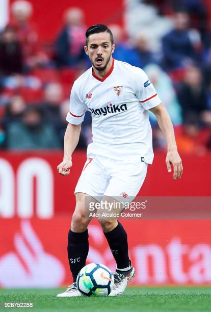 Pablo Sarabia of Sevilla CF controls the ball during the La Liga match between Sevilla CF and Athletic Club at Estadio Ramon Sanchez Pizjuan on March...