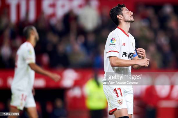 Pablo Sarabia of Sevilla CF reacts during the La Liga match between Sevilla CF and Levante UD at Estadio Ramon Sanchez Pizjuan on December 15 2017 in...
