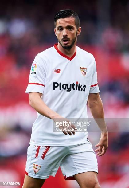 Pablo Sarabia of Sevilla CF reacts during the La Liga match between Sevilla CF and Athletic Club at Estadio Ramon Sanchez Pizjuan on March 3 2018 in...