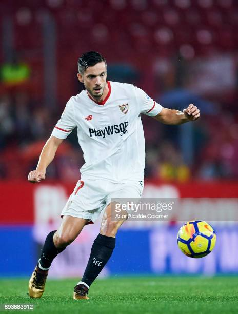 Pablo Sarabia of Sevilla controls the ball during the La Liga match between Sevilla and Levante at Estadio Ramon Sanchez Pizjuan on December 15 2017...