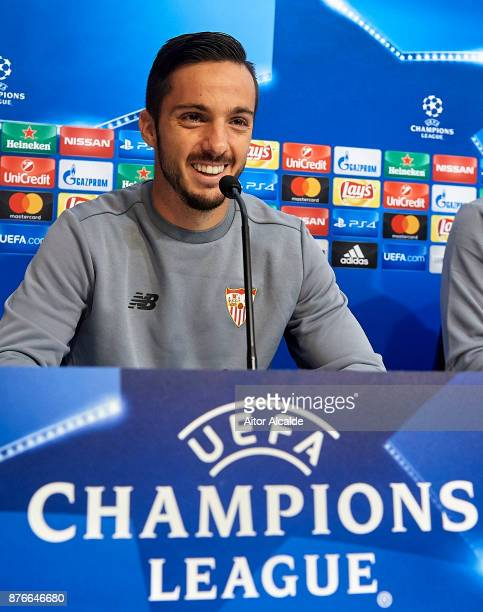 Pablo Sarabia of Sevilla FC attends the press conference prior to their Champions League match against Liverpool FC at the Sevilla FC training ground...