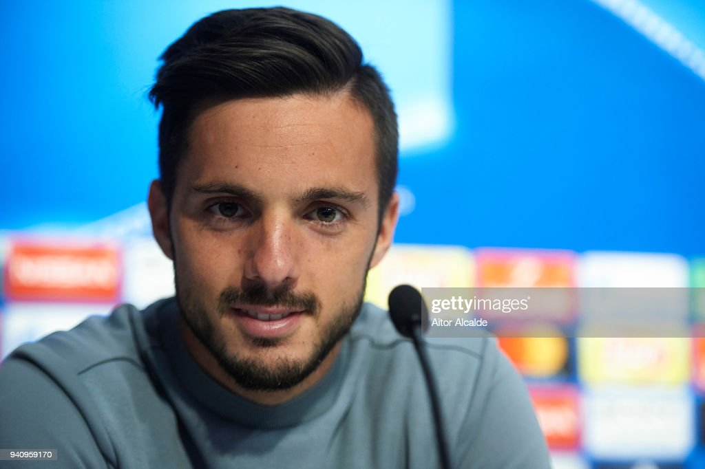 Pablo Sarabia of Sevilla FC attends to the press during the Press Conference prior to their UEFA Champions League match against Bayern Munich at t Estadio Ramon Sanchez Pizjuan on April 2, 2018 in Seville, Spain.