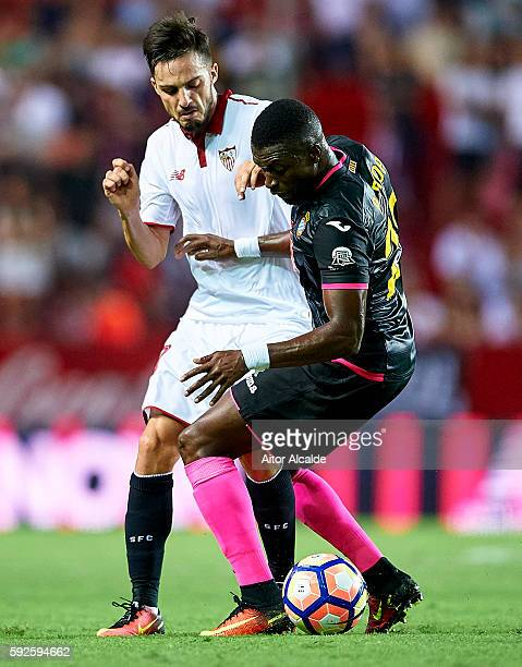 Pablo Sarabia of Sevilla FC being followed by Pape Diop of RCD Espanyol during the match between Sevilla FC vs RCD Espanyol as part of La Liga at...