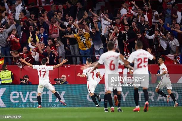 Pablo Sarabia of Sevilla FC celebrates after scoring during the La Liga match between Sevilla FC and Real Betis Balompie at Estadio Ramon Sanchez...