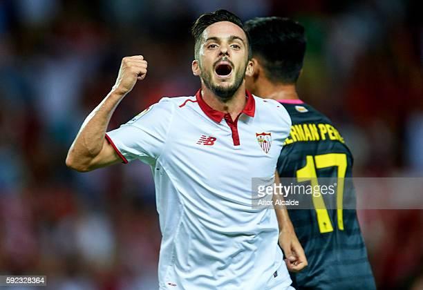Pablo Sarabia of Sevilla FC celebrates after scoring during the match between Sevilla FC vs RCD Espanyol as part of La Liga at Estadio Ramon Sanchez...