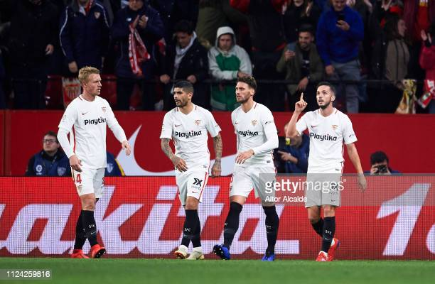 Pablo Sarabia of Sevilla FC celebrates after scoring goal during the Copa del Quarter Final match between Sevilla FC and FC Barcelona at Estadio...