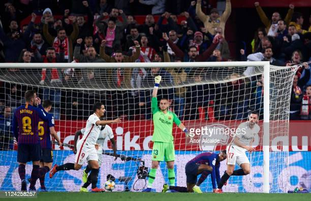 Pablo Sarabia of Sevilla FC celebrates after scoring the opening goal during the Copa del Quarter Final match between Sevilla FC and FC Barcelona at...