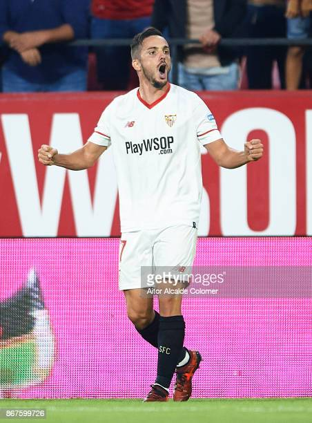 Pablo Sarabia of Sevilla FC celebrates after scoring the second goal for Sevilla FC during the La Liga match between Sevilla and Leganes at Estadio...