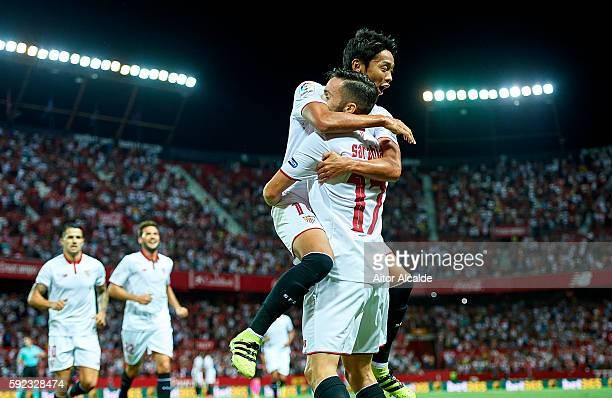 Pablo Sarabia of Sevilla FC celebrates after scoring with his team mate Hiroshi Kiyotake of Sevilla FC during the match between Sevilla FC vs RCD...