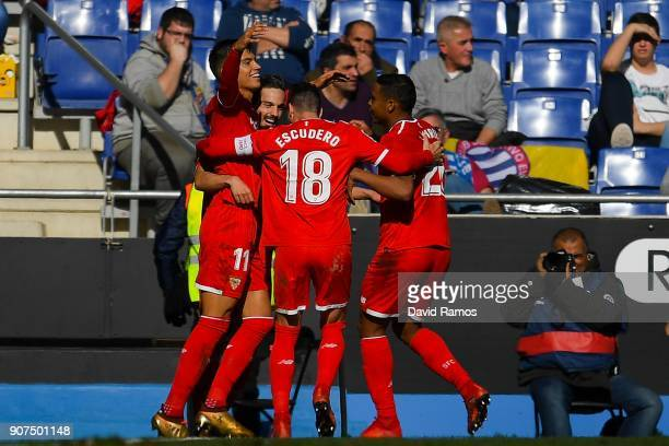 Pablo Sarabia of Sevilla FC celebrates with his team mates after scoring his team's second goal during the La Liga match between Espanyol and Sevilla...