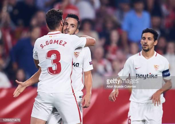 Pablo Sarabia of Sevilla FC celebrates with his teammates Sergi Gomez of Sevilla FC after scoring his team's second goal during the UEFA Europa...