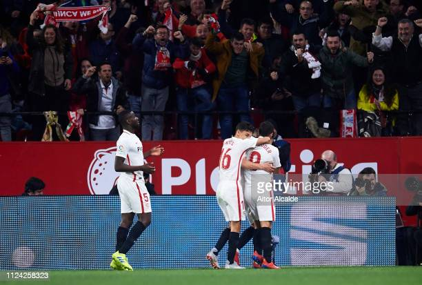 Pablo Sarabia of Sevilla FC celebrates with teammates after scoring the opening goal during the Copa del Quarter Final match between Sevilla FC and...