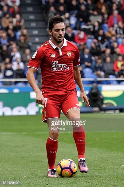 Pablo Sarabia of Sevilla FC drives the ball during the La Liga Santander match between Real Club Deportivo de La Coruña vs Sevilla FC at Estadio...