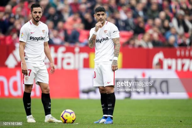 Pablo Sarabia of Sevilla FC Ever Banega of Sevilla FC during the La Liga Santander match between Sevilla v Girona at the Estadio Ramon Sanchez...