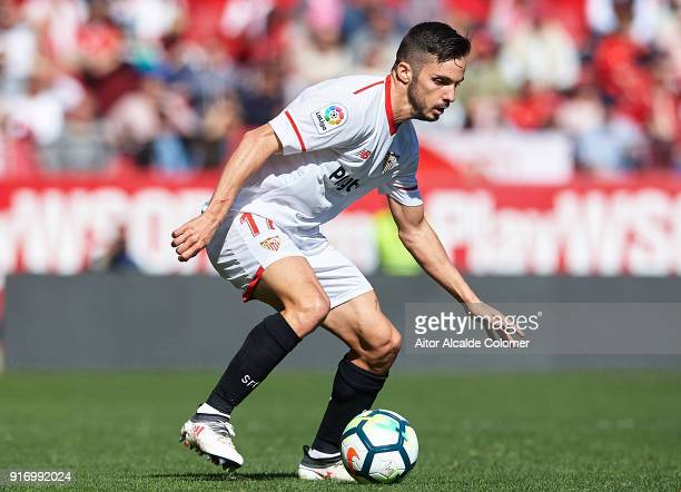 Pablo Sarabia of Sevilla FC in action during the La Liga match between Sevilla and Girona at Estadio Ramon Sanchez Pizjuan on February 11 2018 in...