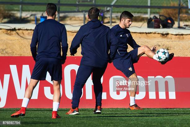 Pablo Sarabia of Sevilla FC in action during the training of Sevilla FC prior to their Champions League match against Liverpool FC at the Sevilla FC...
