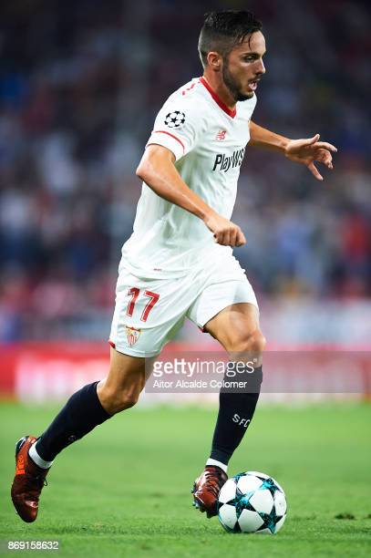 Pablo Sarabia of Sevilla FC in action during the UEFA Champions League group E match between Sevilla FC and Spartak Moskva at Estadio Ramon Sanchez...
