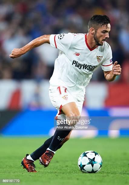 Pablo Sarabia of Sevilla FC in action during the UEFA Champions League group E match between Sevilla FC and Spartak Moskva at Estadio Ramon Sanchez...