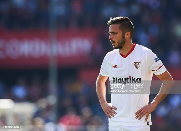 Pablo Sarabia of Sevilla FC looks on during the La Liga match between Sevilla and Girona at Estadio Ramon Sanchez Pizjuan on February 11 2018 in...