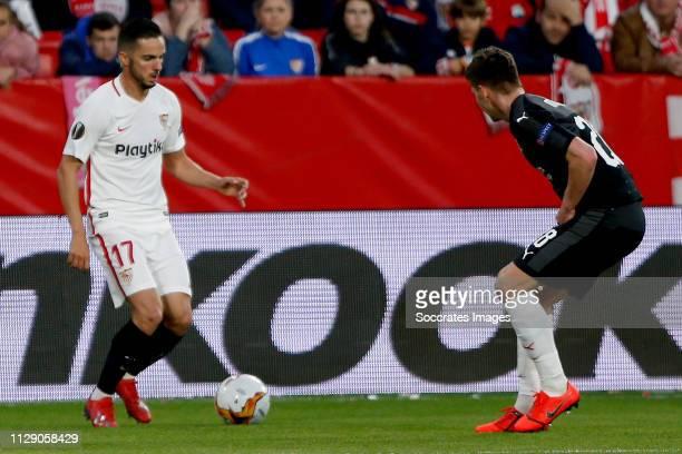 Pablo Sarabia of Sevilla FC Lukas Masopust of SK Slavia Praha during the UEFA Europa League match between Sevilla v Slavia Prague at the Estadio...