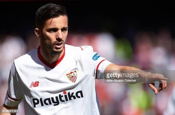 Pablo Sarabia of Sevilla FC reacts during the La Liga match between Sevilla and Girona at Estadio Ramon Sanchez Pizjuan on February 11 2018 in...