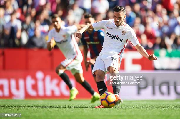 Pablo Sarabia of Sevilla FC shoots the penalty shoot to score the fourth goal during the La Liga match between Sevilla FC and Levante UD at Estadio...