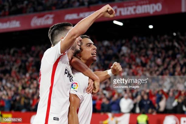 Pablo Sarabia of Sevilla FC Wissam Ben Yedder of Sevilla FC Ever Banega of Sevilla FC celebrate goal during the La Liga Santander match between...