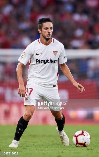 Pablo Sarabia of Sevilla FCin action during the La Liga match between Sevilla FC and RC Celta de Vigo at Estadio Ramon Sanchez Pizjuan on October 7...