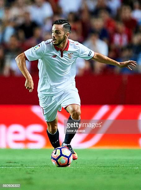 Pablo Sarabia of Sevilla FCin action during the match between Sevilla FC vs RCD Espanyol as part of La Liga at Estadio Ramon Sanchez Pizjuan on...