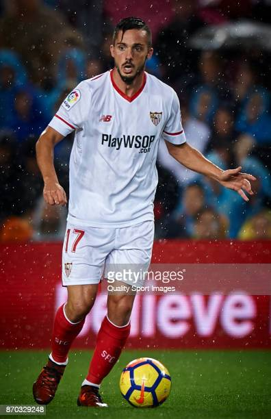 Pablo Sarabia of Sevilla in action during the La Liga match between Barcelona and Sevilla at Camp Nou on November 4 2017 in Barcelona Spain