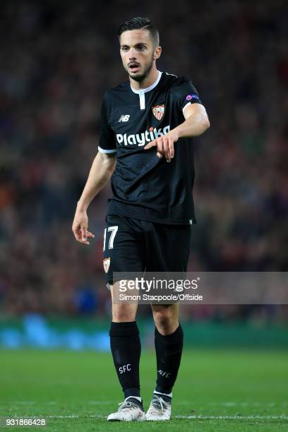 Pablo Sarabia of Sevilla looks on during the UEFA Champions League Round of 16 Second Leg match between Manchester United and Sevilla FC at Old...
