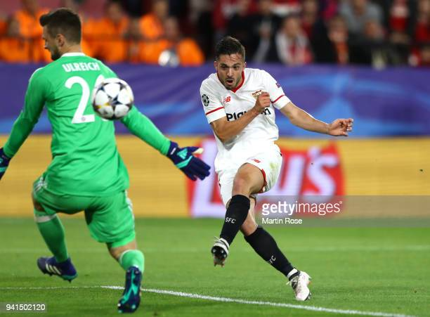 Pablo Sarabia of Sevilla scores his sides first goal during the UEFA Champions League Quarter Final Leg One match between Sevilla FC and Bayern...