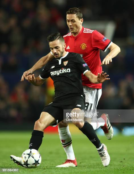 Pablo Sarabia of Sevilla shields the ball from Nemanja Matic of Manchester United during the UEFA Champions League Round of 16 Second Leg match...