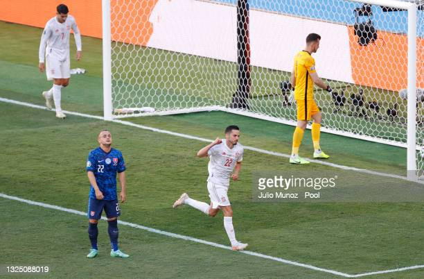 Pablo Sarabia of Spain celebrates after scoring their side's third goal during the UEFA Euro 2020 Championship Group E match between Slovakia and...
