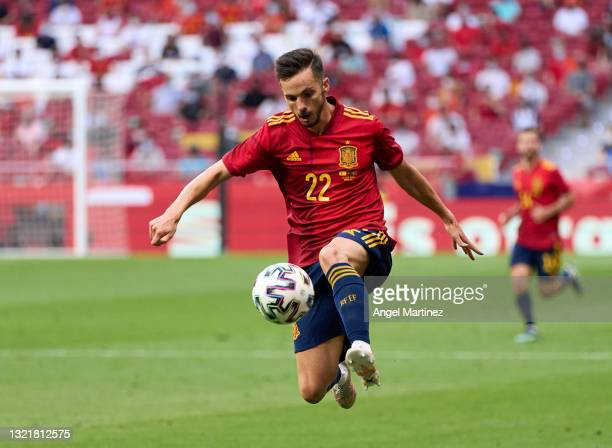Pablo Sarabia of Spain in action during the international friendly match between Spain and Portugal at Estadio Wanda Metropolitano on June 04, 2021...