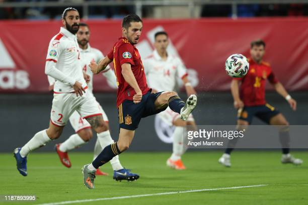 Pablo Sarabia of Spain scores his team's fourth goal during the UEFA Euro 2020 Qualifier between Spain and Malta on November 15, 2019 in Cadiz, Spain.