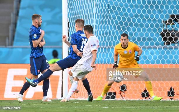 Pablo Sarabia of Spain scores their side's third goal past Martin Dubravka of Slovakia during the UEFA Euro 2020 Championship Group E match between...